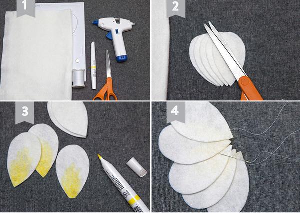 3 cách làm hoa sứ, hoa mẫu đơn bằng vải dạ