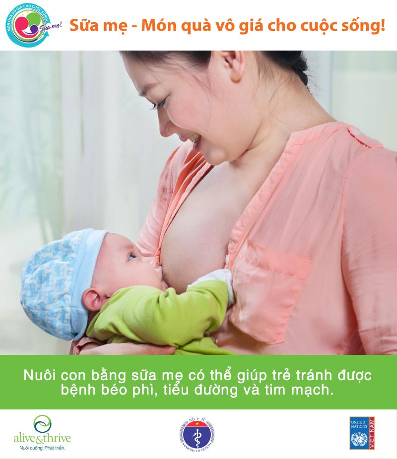 Nuôi con bằng sữa mẹ giúp trẻ khỏe mạnh hơn