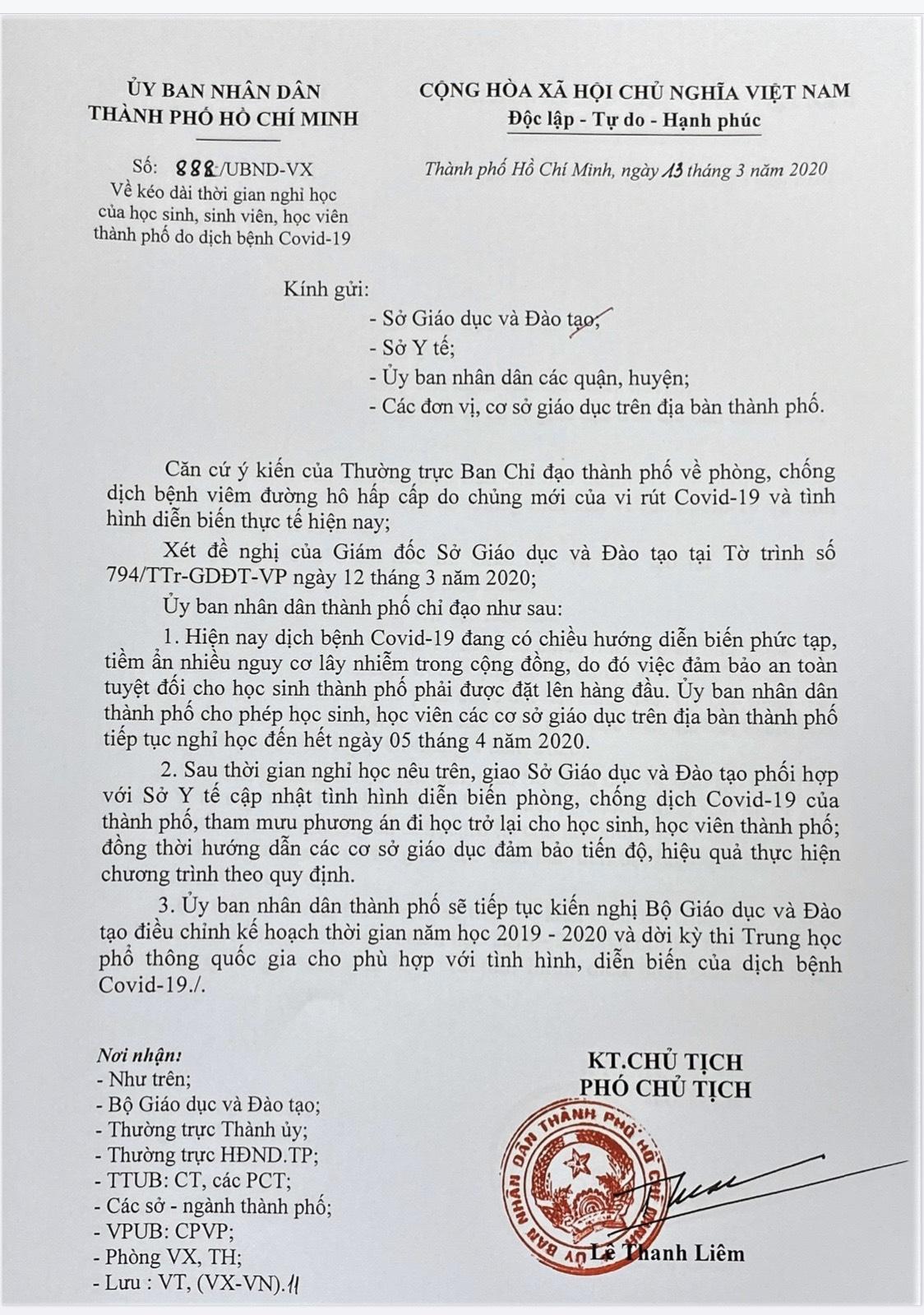 THÔNG BÁO VỀ VIỆC CHO TRẺ TIẾP TỤC NGHỈ HỌC ĐỂ PHÒNG CHỐNG DICH BỆNH COVID-19