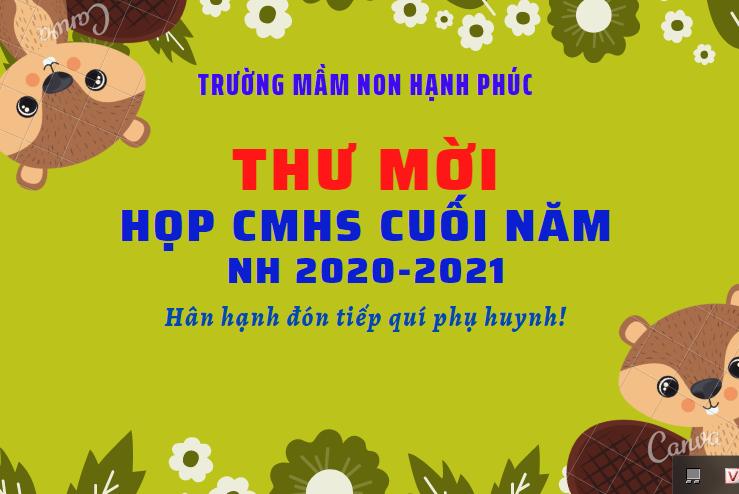 THƯ MỜI HỌP CMHS CUỐI NĂM HỌC!